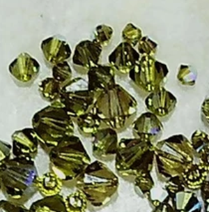 Olive green Swarovski crystal bicone mix size 2mm to 6mm  lot of 51 beads