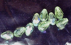 Peridot green AB Swarovski crystal 9mm faceted briolette  9 bead lot
