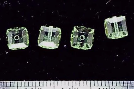 Peridot green Swarovski crystal 5mm cube  4 bead lot