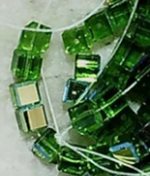 Fern green AB glass 4mm cubes  about 80 bead lot