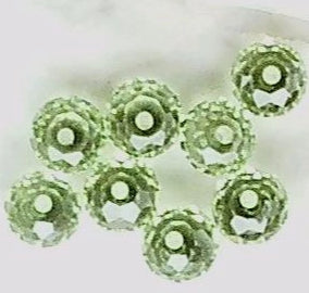 Peridot green Swarovski crystal 4mm x 6mm faceted rondelle 8 bead lot
