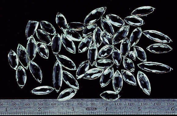 Pale green amethyst mixed size top drilled navette abt 40 bead lot