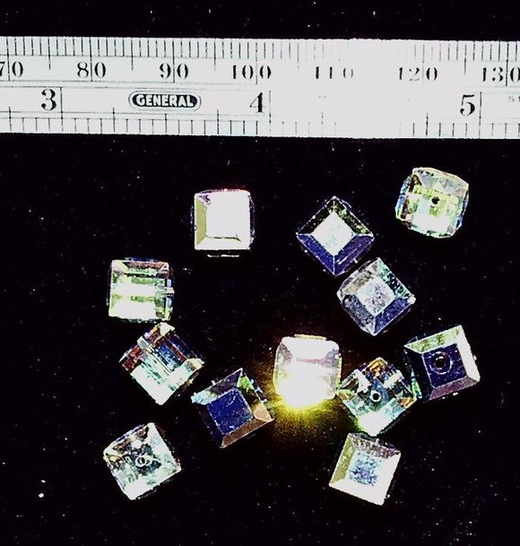 Vitrail Swarovski crystal 8mm faceted cube 12 bead lot