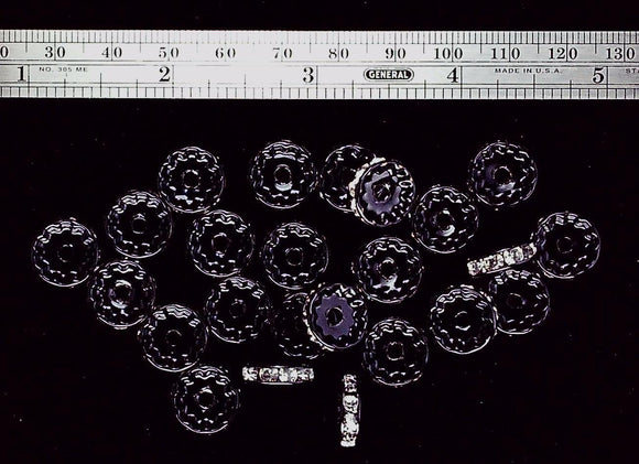 Swarovski crystal 12 mm round spacers crystal/black 24  bead lot