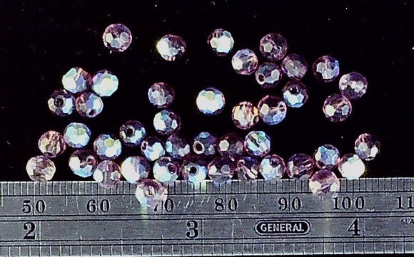 Swarovski crystal amethyst AB faceted 4mm round  50 bead lot