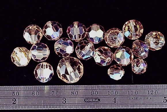 Swarovski crystal light Colorado topaz AB faceted 10-15mm round mixed size lot