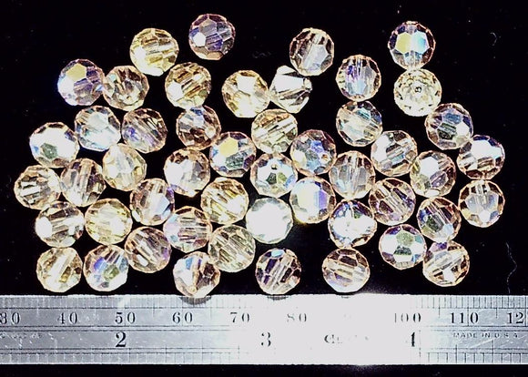Swarovski crystal light Colorado topaz AB faceted 8mm round  46 beads