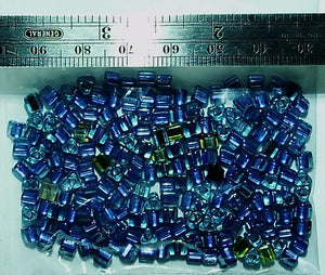Seed bead 8/0 blue  triangle mixed lot (18.5g lot)