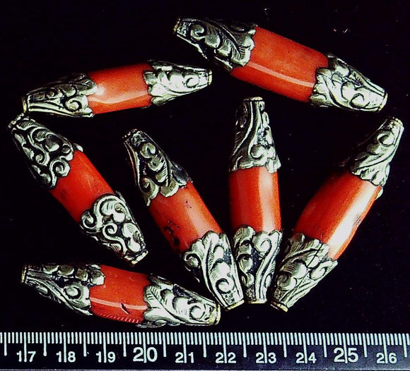 Coral with Tibetan silver bead caps 48mm x 12mm beads (7 beads)