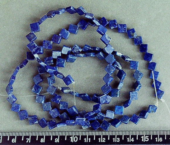 Blue Lapis Lazuli 7mm flat square diamond beads (15 inch strand)