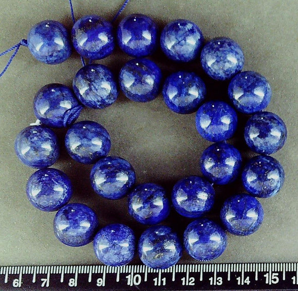 Blue Lapis Lazuli 15mm  polished round beads (15 inch strand)