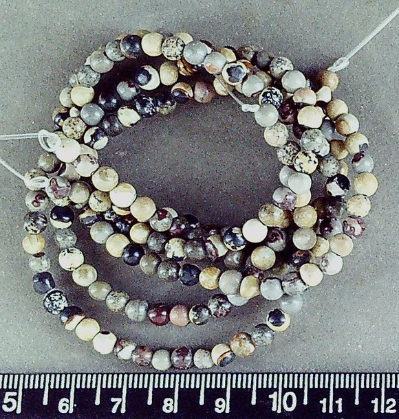 Jasper 4mm  polished round beads (16 inch strand)