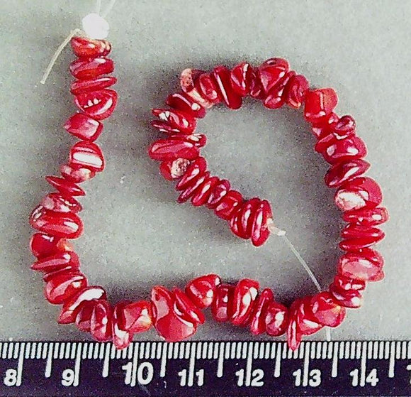 Red Coral  small polished chip beads  (7 inch strand)