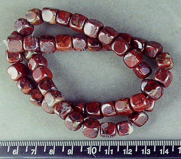 Red Brecciated Jasper 7mm rounded cube beads (16 inches)