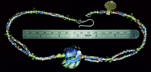 Lampwork Fish Pendant 16.5 inch necklace with sterling hook clasp