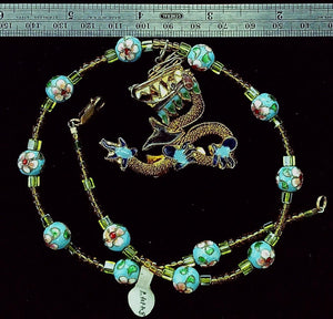 Dragon Pendant and cloisonne bead necklace 16 linear inches plus 2 in pendant