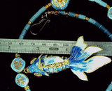 Cloisonne jointed fish pendant and cloisonne bead necklace 20 linear inches +3 in pendant