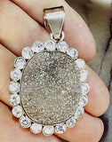 Fat oval druzy with sterling pendant 45mm x 35mm plus hasp