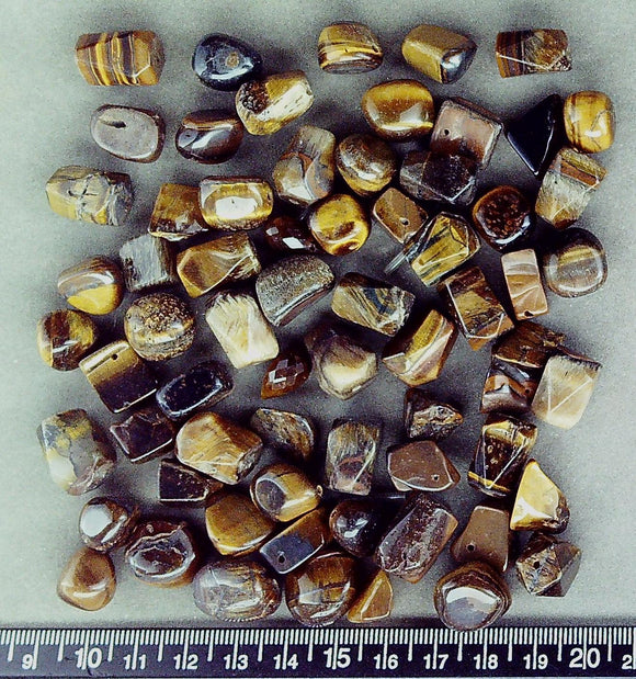 Tiger Eye agate mixed shape medium beads (60+ bead set)