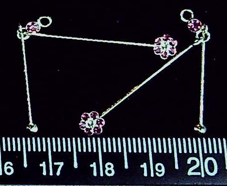 Sterling silver double drop pin with pink crystal flower (set of 2)