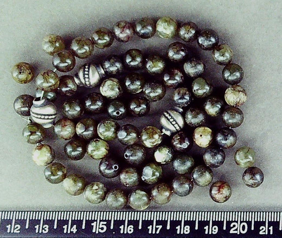 Olive green jade stone polished 8mm round beads (about 65 beads)