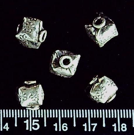 Sterling silver 10mm textured cube beads (5 beads)