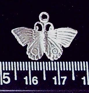 Sterling silver 22mm x 12mm butterfly drop charm with 3mm closed loop (1)