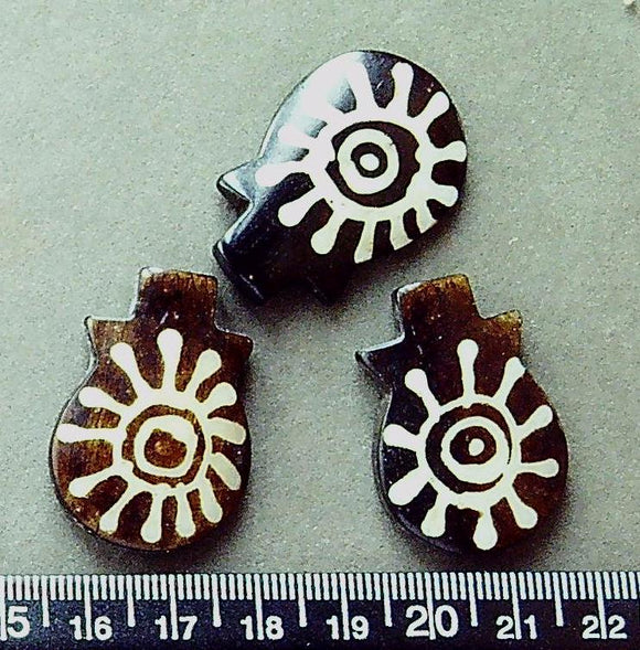 Brown bone w/ cream sun double sided pendant focal beads (34mm x 24mm)(3 beads)
