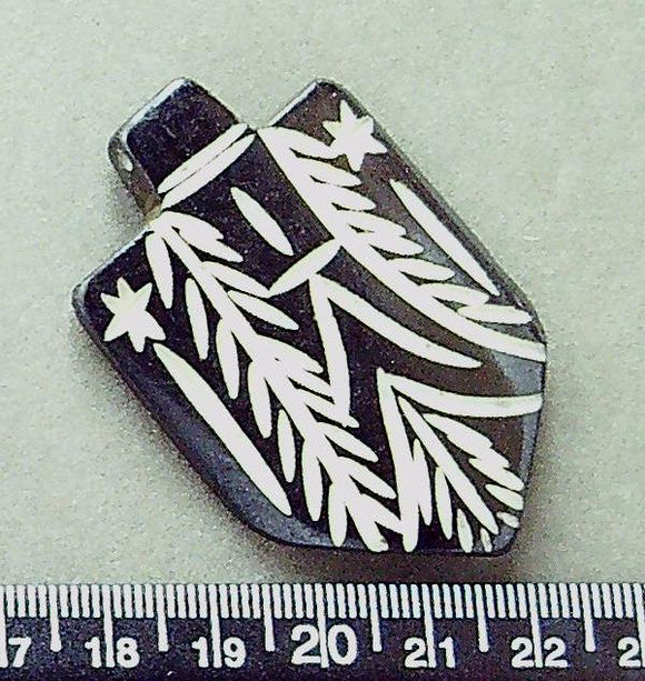 Brown bone pendant focal bead with incised cream pattern (34mm x 55mm) 1 bead