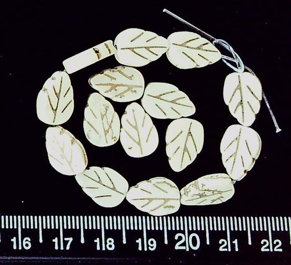 Magnesite cream carved leaf beads (14mm x 6mm)  (15 beads)