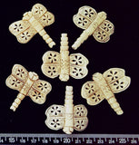 Carved bone butterfly beads (42mm x 42mm) (6 beads)