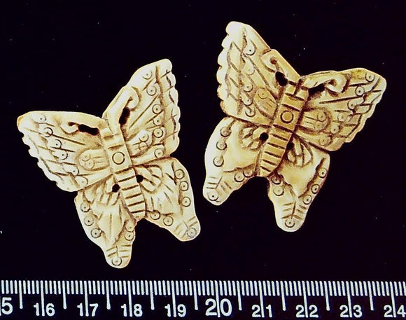 Carved bone butterfly beads (42mm x 38mm) (2 beads) Carved on both sides