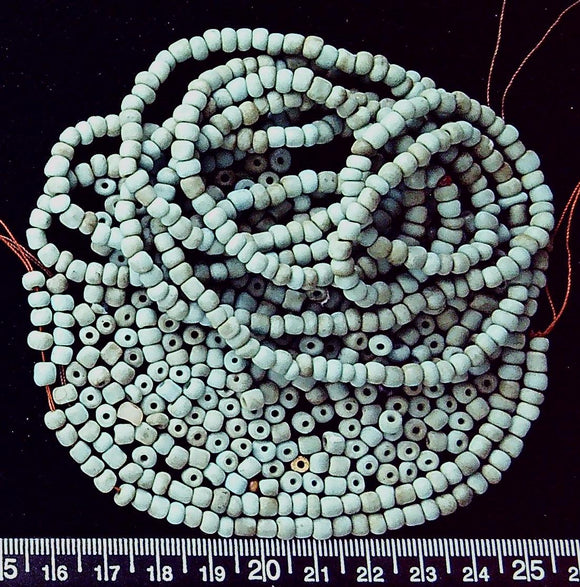 Blue bone rondelle mix (48 inches plus loose mix) irregular, most 3mm x 4mm