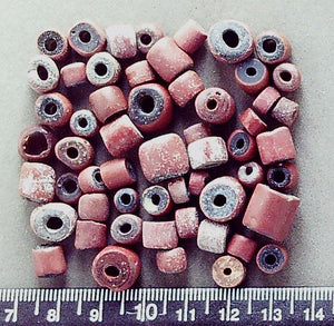 Muted red ceramic handmade African mixed size large hole rustic beads (largest 10mm x 11mm) (56 beads)