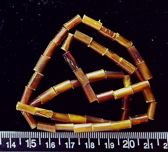 Natural horn round tube beads (9mm x 4mm) (16 inch strand)