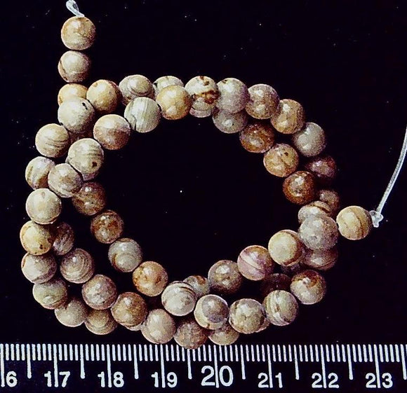 Brown marble 6mm polished round beads (16 inch strand)