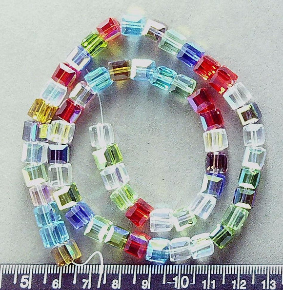 Multicolor AB crystal 6mm faceted cube beads (16 inch strand)