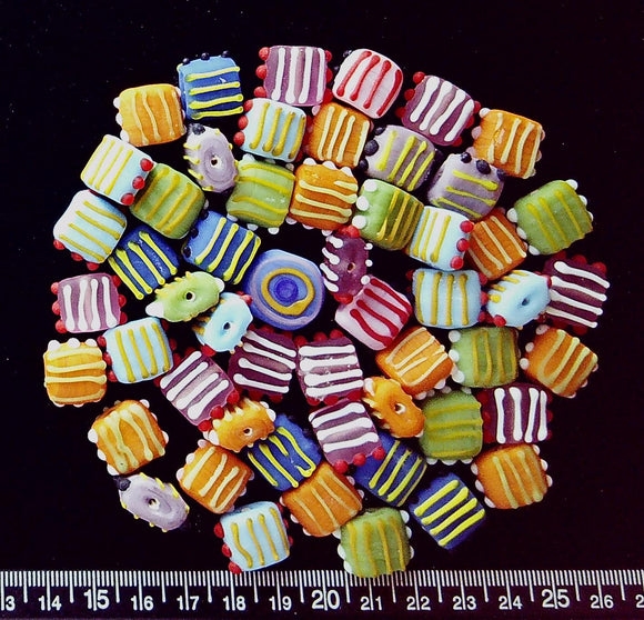 Lampwork glass matte multicolor bumpy and stripes 12mm square beads (54 beads)