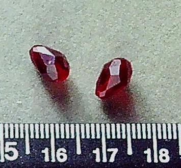 Red Swarovski 8mm briolette beads (1 pair/2 beads)