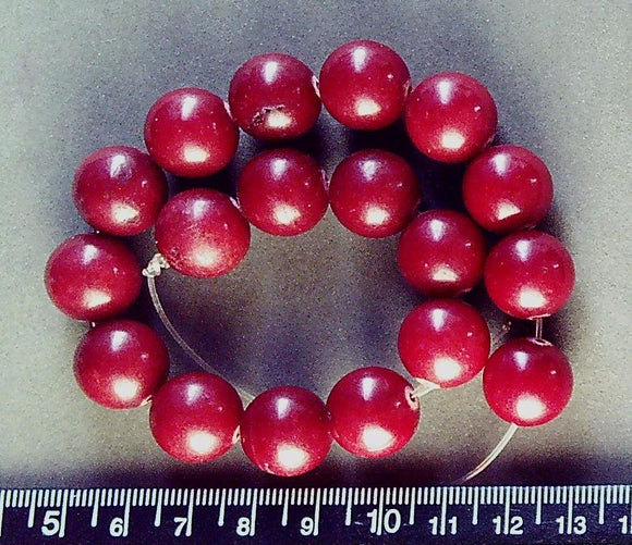 Brick red quartz 14mm polished round beads (18 beads)