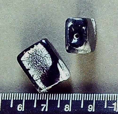Black/brown and silver dichroic glass 20mm x 15mm rectangle beads (1 pair/2 beads)