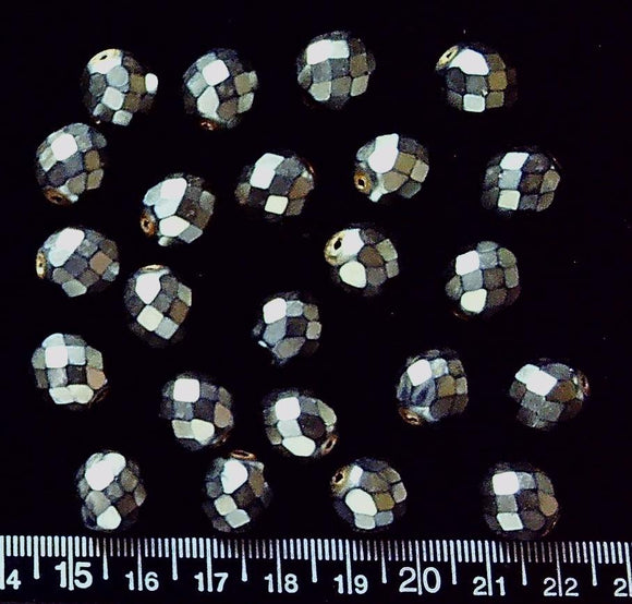 Silver glass 12mm faceted round beads (23 beads)