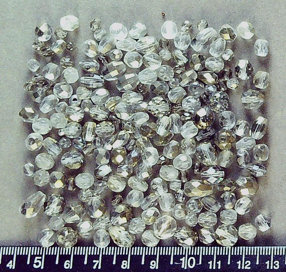 Colorless firepolished glass mixed shape bead lot (150+ beads, largest 8mm)