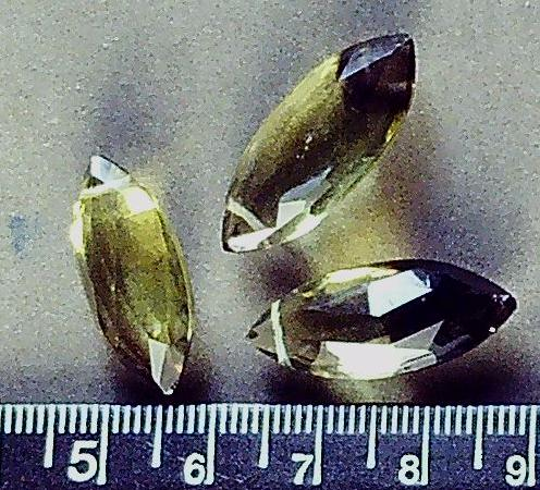 Olive/brown glass faceted drop marquis beads 22mm x 11mm  (set of 3)