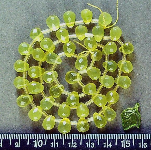 Green/yellow Quartz  drop faceted 7mm x 10mm teardrop beads (16 inch strand)