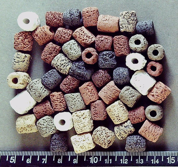 Earth colors clay handmade textured round tube beads (14mm x 10mm, lg hole, irreg)
