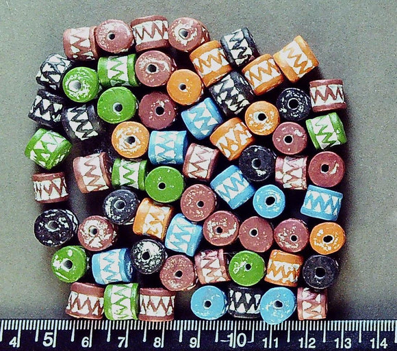 Mixed color clay drum beads 9mm x 10mm  (69 beads)