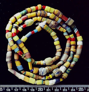 African multicolor glass mixed shape beads (36 inch strand)