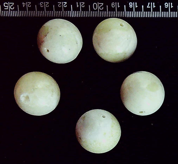 Pale green jasper 25mm polished round beads (set of 5 beads)