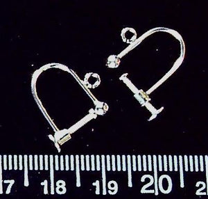 Sterling silver 13mm screwback with ball and loop earring findings (one pair/2 total)